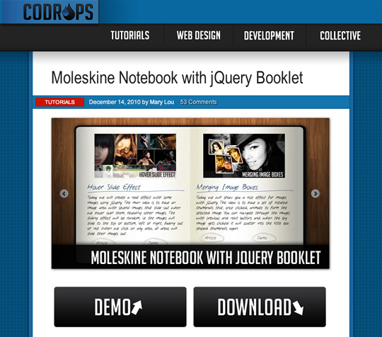 Moleskine Notebook with jQuery Booklet(ページめくり表示のjQuery)