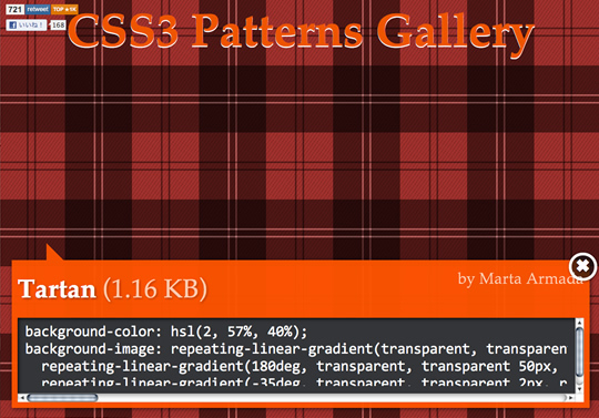 CSS3 Patterns Gallery(CSS3で作成する背景パターン)