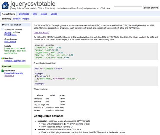 CSVファイルをHTMLテーブルとして書き出すjQuery plugin