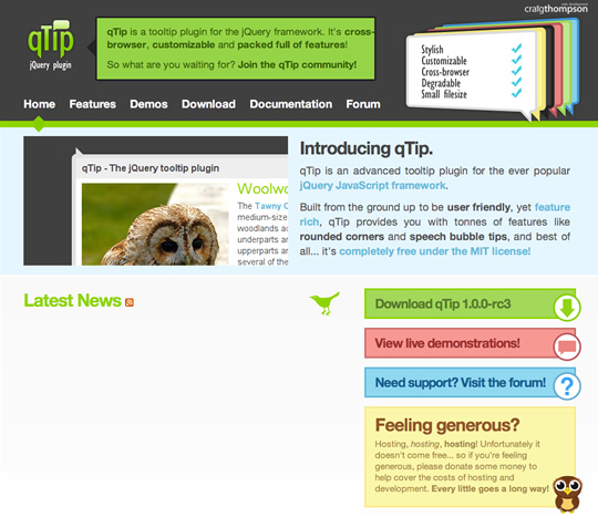 ホームページ画面|qTip - The jQuery tooltip plugin(jQueryを使ったツールチップ)